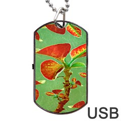 Tropical Floral Print Dog Tag USB Flash (One Side)