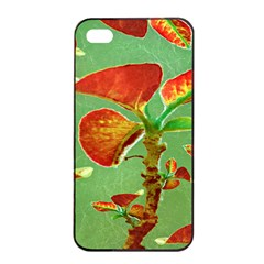 Tropical Floral Print Apple iPhone 4/4s Seamless Case (Black)
