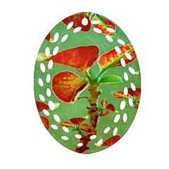 Tropical Floral Print Oval Filigree Ornament (2-Side)