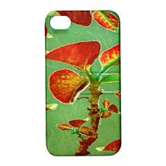 Tropical Floral Print Apple Iphone 4/4s Hardshell Case With Stand