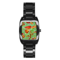 Tropical Floral Print Stainless Steel Barrel Watch