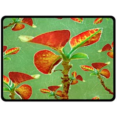 Tropical Floral Print Double Sided Fleece Blanket (Large)