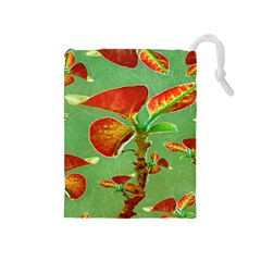 Tropical Floral Print Drawstring Pouches (medium)