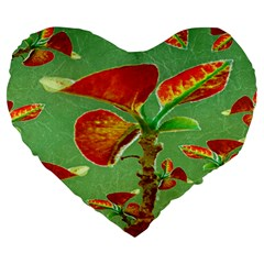 Tropical Floral Print Large 19  Premium Flano Heart Shape Cushions