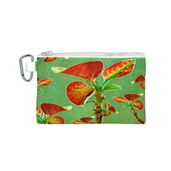 Tropical Floral Print Canvas Cosmetic Bag (S)