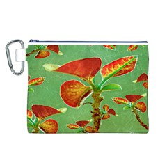 Tropical Floral Print Canvas Cosmetic Bag (L)