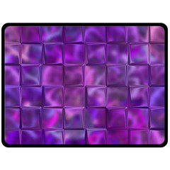Purple Square Tiles Design Double Sided Fleece Blanket (large)