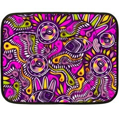 Purple Tribal Abstract Fish Double Sided Fleece Blanket (mini)