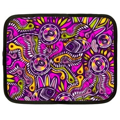 Purple Tribal Abstract Fish Netbook Case (xxl)