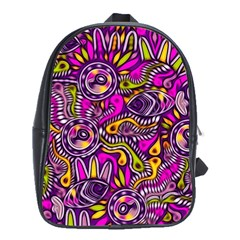 Purple Tribal Abstract Fish School Bags(large)
