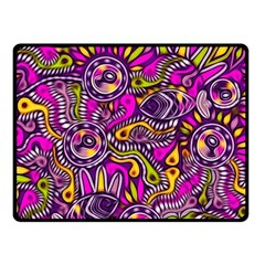 Purple Tribal Abstract Fish Double Sided Fleece Blanket (Small)