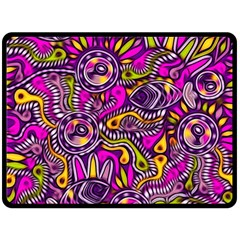 Purple Tribal Abstract Fish Double Sided Fleece Blanket (large)