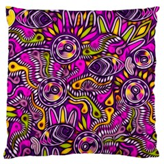 Purple Tribal Abstract Fish Large Flano Cushion Cases (Two Sides)