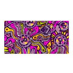 Purple Tribal Abstract Fish Satin Wrap