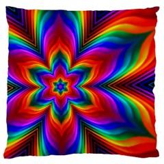 Rainbow Flower Large Flano Cushion Cases (One Side)