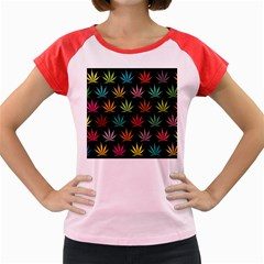 Cannabis Leaf Multi Col Pattern Women s Cap Sleeve T-Shirt