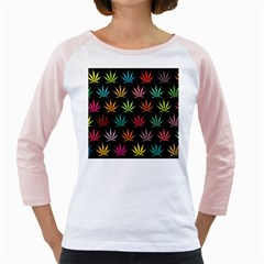 Cannabis Leaf Multi Col Pattern Girly Raglans