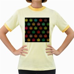Cannabis Leaf Multi Col Pattern Women s Fitted Ringer T-Shirts