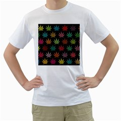 Cannabis Leaf Multi Col Pattern Men s T-Shirt (White) (Two Sided)