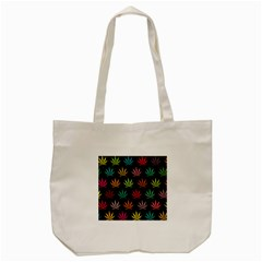 Cannabis Leaf Multi Col Pattern Tote Bag (cream)