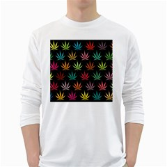 Cannabis Leaf Multi Col Pattern White Long Sleeve T Shirts