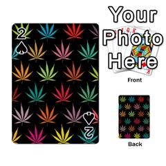 Cannabis Leaf Multi Col Pattern Playing Cards 54 Designs