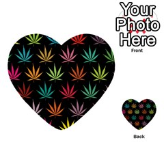Cannabis Leaf Multi Col Pattern Multi-purpose Cards (Heart)