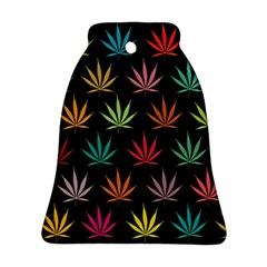 Cannabis Leaf Multi Col Pattern Bell Ornament (2 Sides)