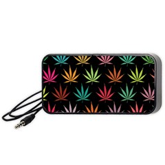 Cannabis Leaf Multi Col Pattern Portable Speaker (Black)