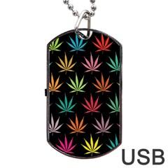 Cannabis Leaf Multi Col Pattern Dog Tag USB Flash (One Side)