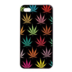 Cannabis Leaf Multi Col Pattern Apple iPhone 4/4s Seamless Case (Black)
