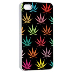 Cannabis Leaf Multi Col Pattern Apple Iphone 4/4s Seamless Case (white)