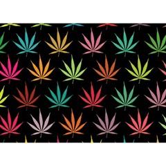 Cannabis Leaf Multi Col Pattern Birthday Cake 3D Greeting Card (7x5)