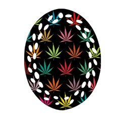 Cannabis Leaf Multi Col Pattern Oval Filigree Ornament (2-Side)