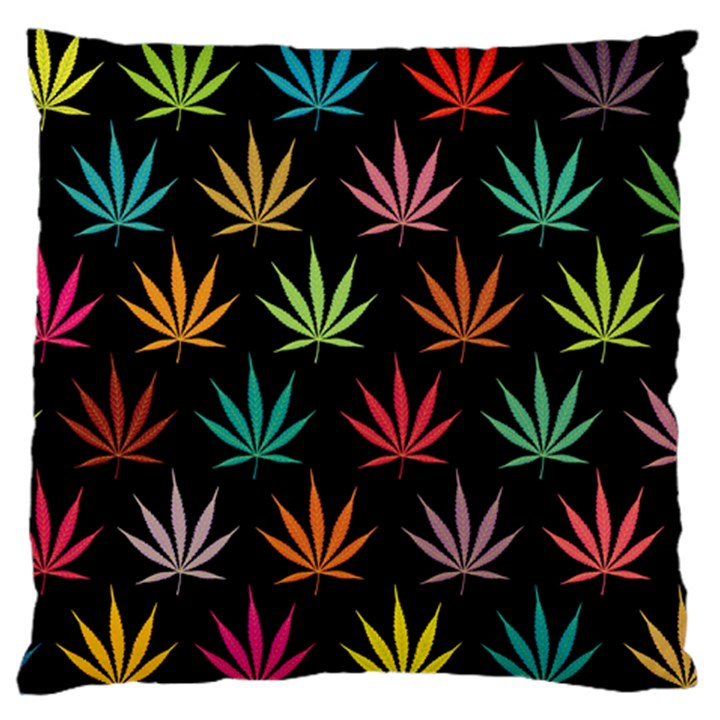 Cannabis Leaf Multi Col Pattern Large Cushion Cases (Two Sides)