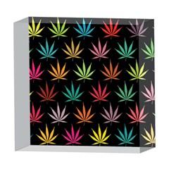 Cannabis Leaf Multi Col Pattern 5  x 5  Acrylic Photo Blocks
