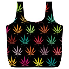 Cannabis Leaf Multi Col Pattern Full Print Recycle Bags (L)