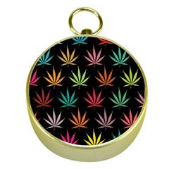 Cannabis Leaf Multi Col Pattern Gold Compasses