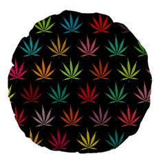 Cannabis Leaf Multi Col Pattern Large 18  Premium Flano Round Cushions