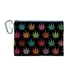 Cannabis Leaf Multi Col Pattern Canvas Cosmetic Bag (M)