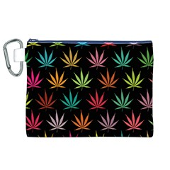 Cannabis Leaf Multi Col Pattern Canvas Cosmetic Bag (xl)