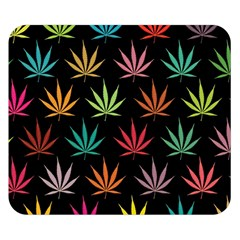 Cannabis Leaf Multi Col Pattern Double Sided Flano Blanket (Small)