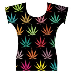 Cannabis Leaf Multi Col Pattern Women s Cap Sleeve Top