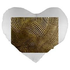Brushed Gold 050549 Large 19  Premium Flano Heart Shape Cushions