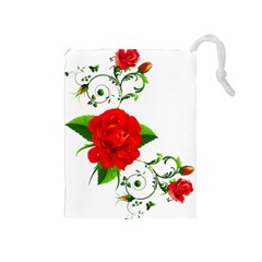 Red Roses Decor Clipart Drawstring Pouches (Medium)