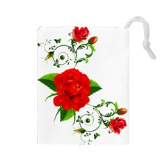 Red Roses Decor Clipart Drawstring Pouches (Large)