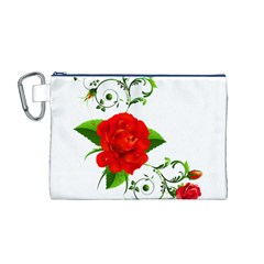 Red Roses Decor Clipart Canvas Cosmetic Bag (M)