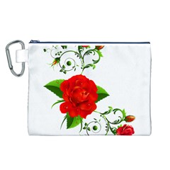 Red Roses Decor Clipart Canvas Cosmetic Bag (L)