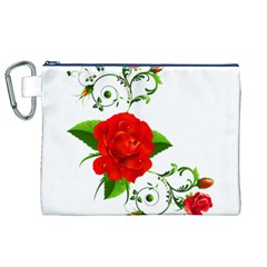 Red Roses Decor Clipart Canvas Cosmetic Bag (XL)