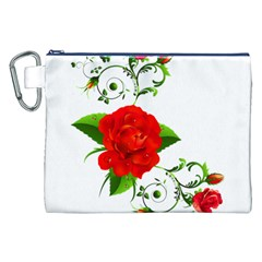 Red Roses Decor Clipart Canvas Cosmetic Bag (XXL)